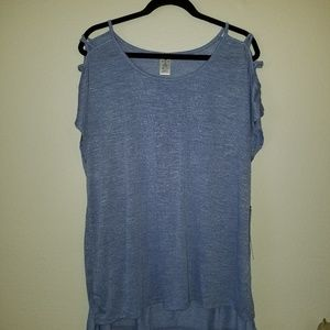 Active Life Top Blue Cold Cage Cross Shoulder
